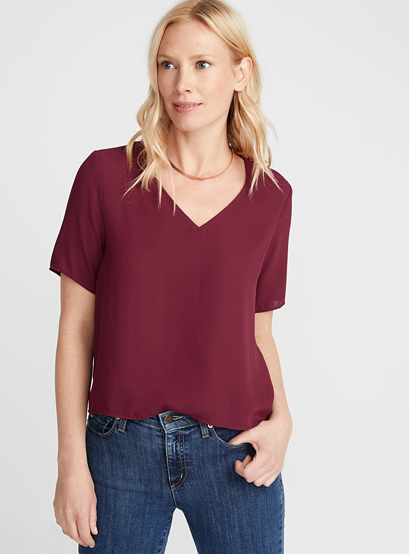 Fluid boxy blouse - Crop Tops - Ruby Red
