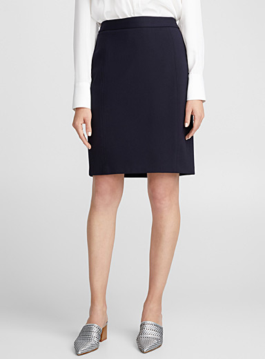 Engineered jersey straight skirt