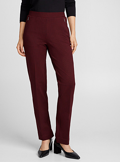 Structured jersey houndstooth pant