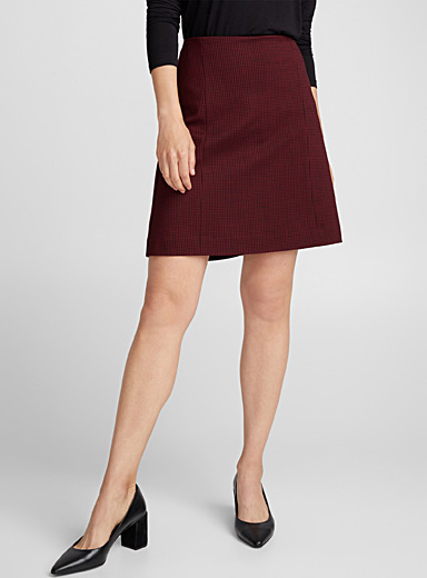 Structured jersey houndstooth skirt