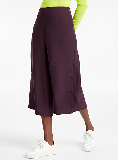 Buttoned slits culottes