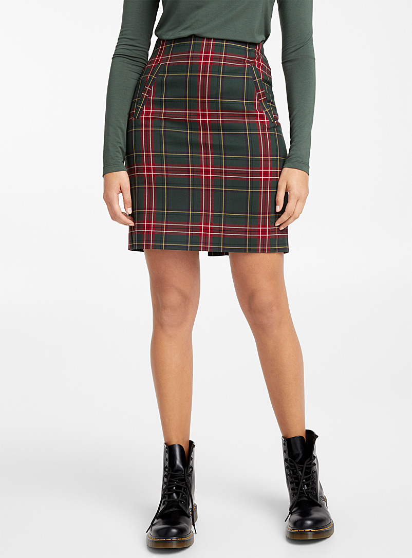 Tartan pencil skirt - Short - Patterned Green