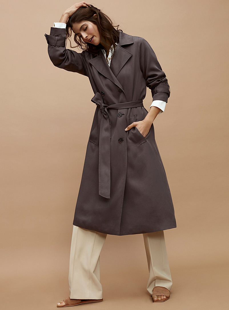 Contemporaine Dark Grey Fluid lyocell trench for women