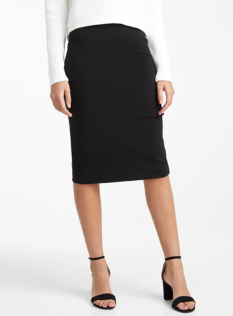 Icône Black Structured jersey pencil skirt for women