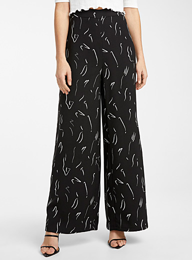 Patterned recycled polyester wide-leg pant