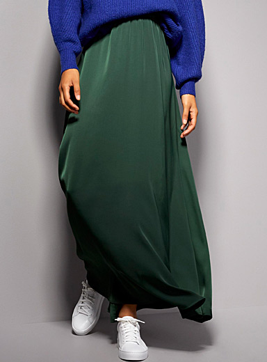 Satiny maxi skirt