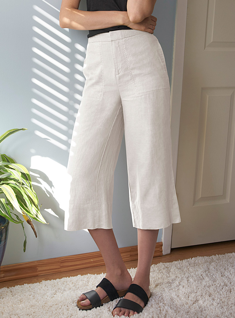 Contemporaine White Pure linen wide-leg capris for women