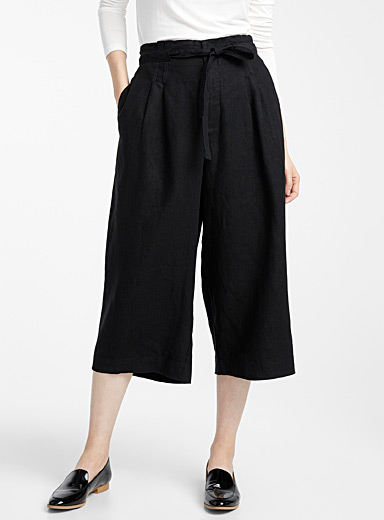 Pure linen pleated-waist culottes