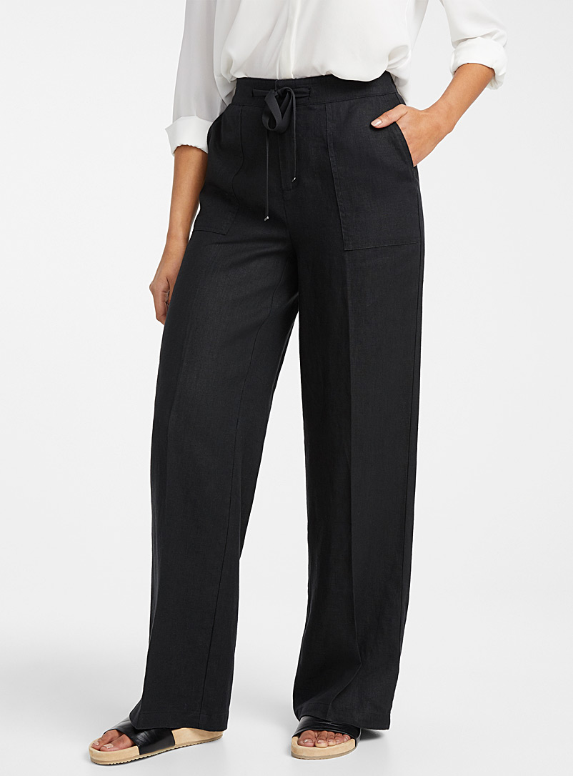 Contemporaine Black Pure linen tie-waist pant for women