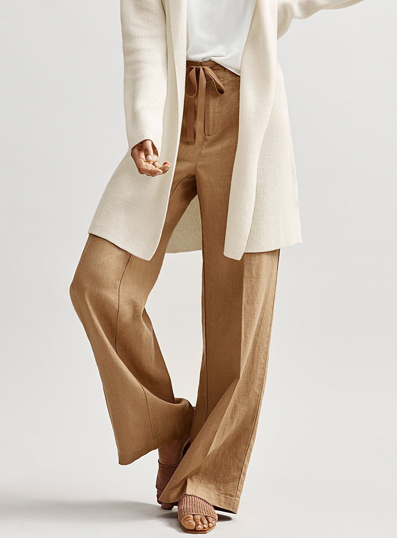 Contemporaine Fawn Pure linen tie-waist pant for women