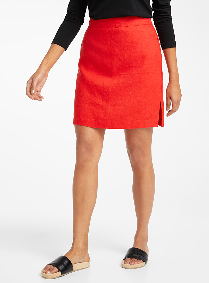 Contemporaine Bright Red Pure linen straight skort for women