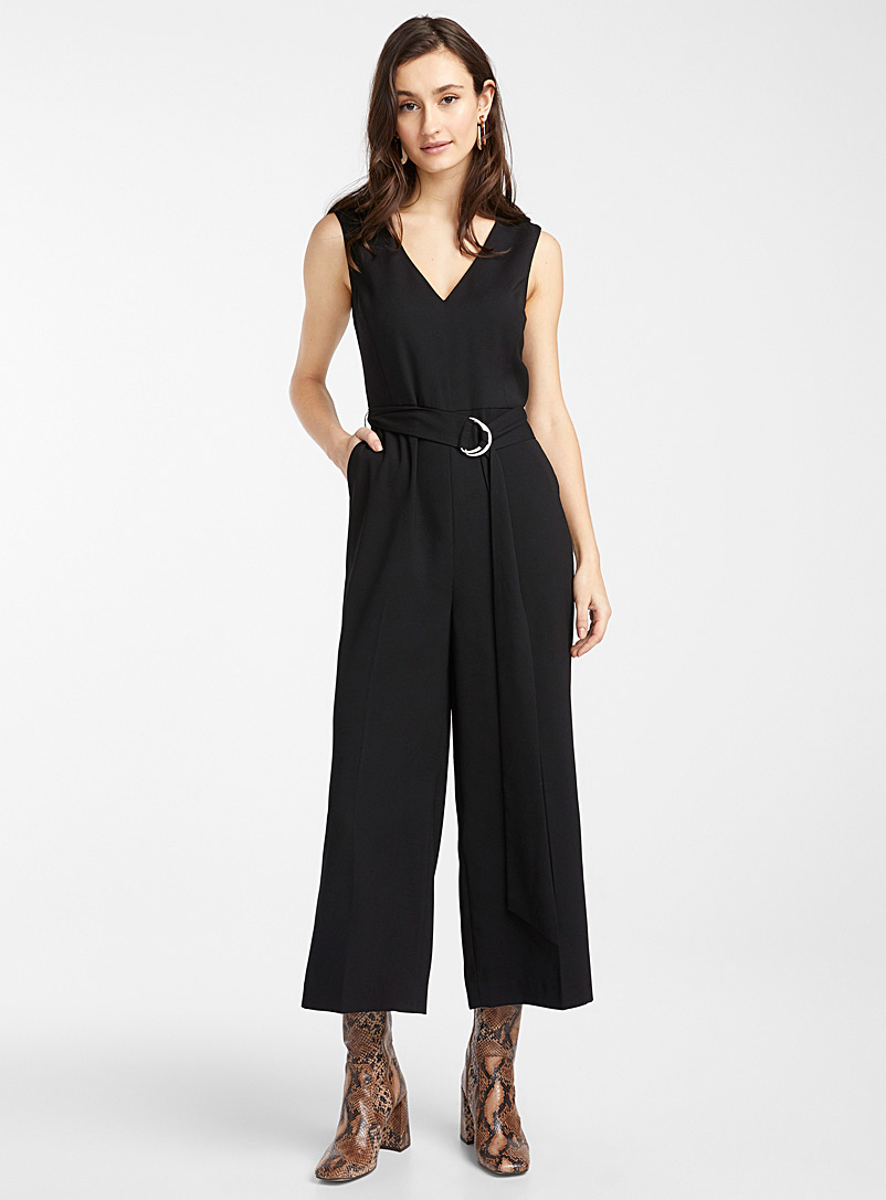 Icône Black Recycled polyester ring-belt jumpsuit for women