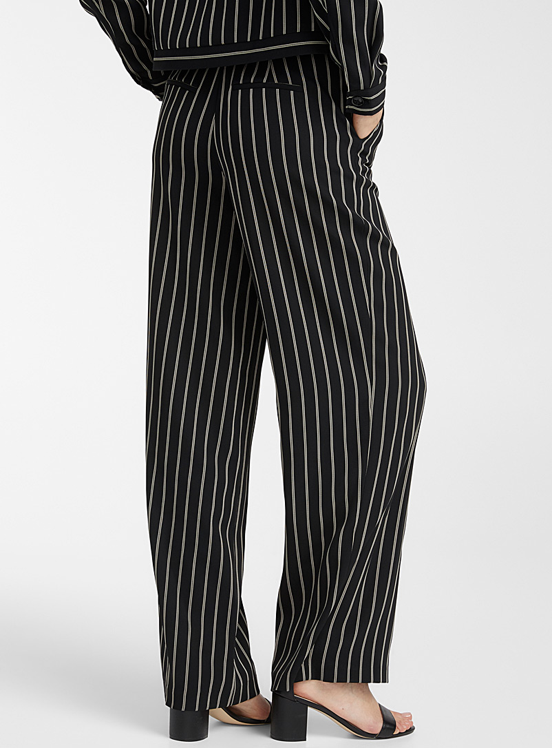Contemporaine Black and White Silky printed pant for women