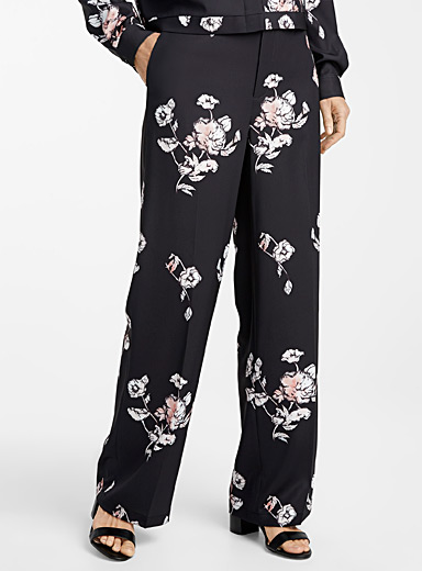 Contemporaine Patterned Blue Silky printed pant for women
