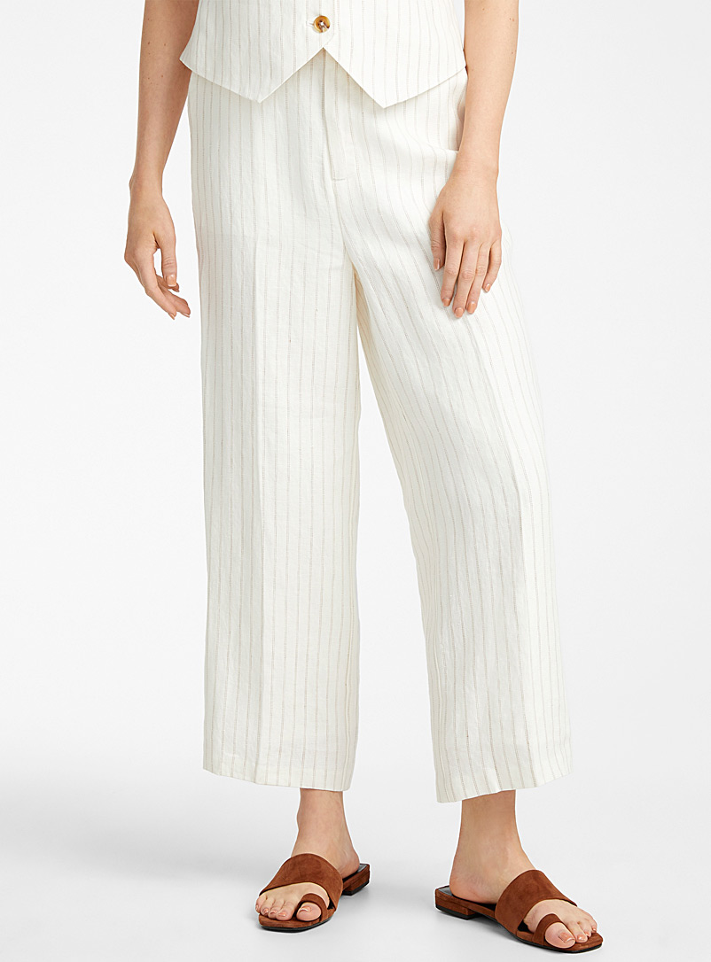 Contemporaine Patterned Ecru Urban linen wide-leg pant for women