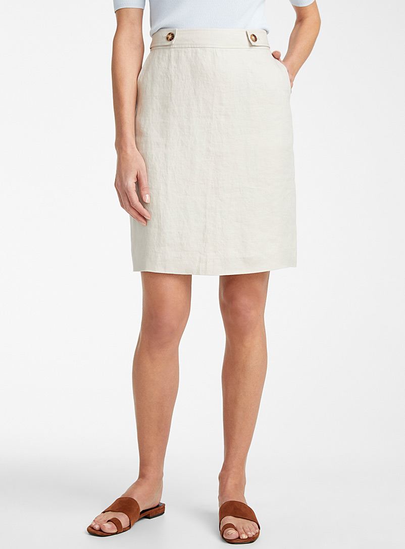 Urban linen straight skirt