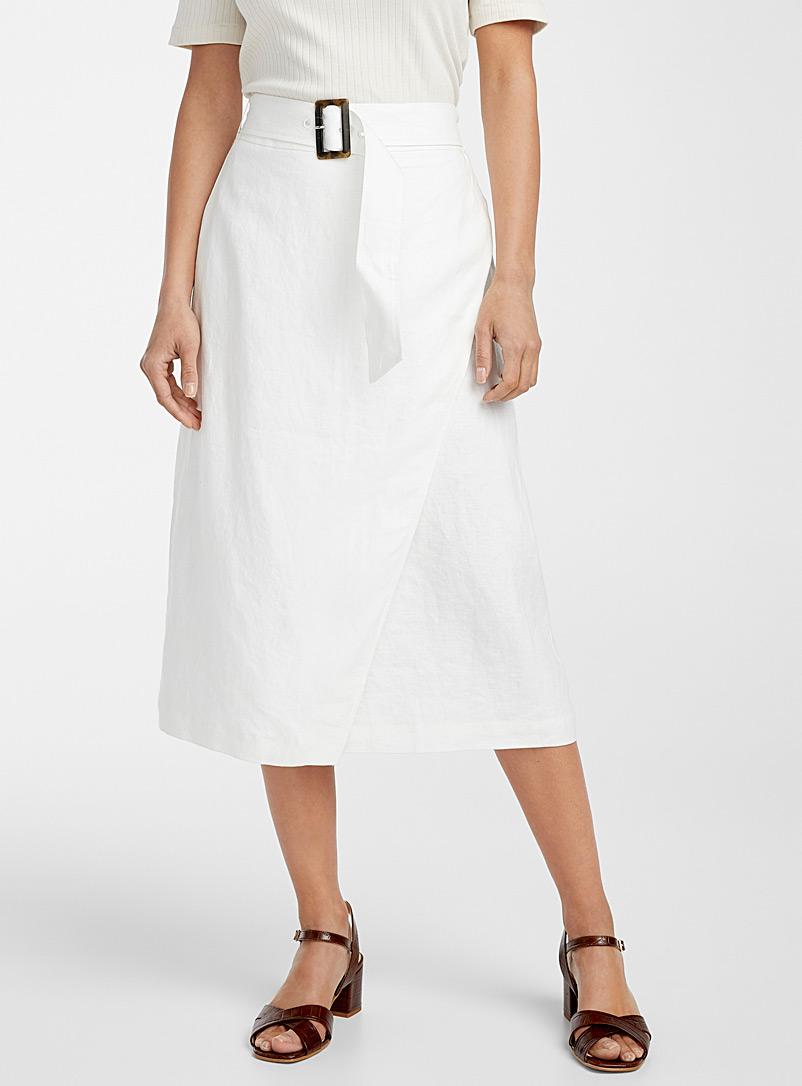 Contemporaine Ivory White Urban linen midi skirt for women