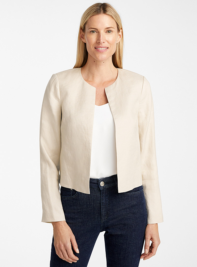 Contemporaine Sand Urban linen round-neck jacket for women