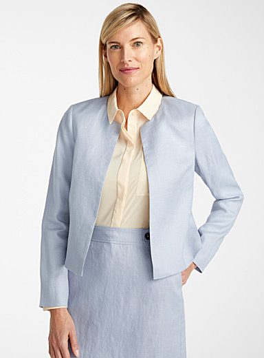 Urban linen round-neck jacket