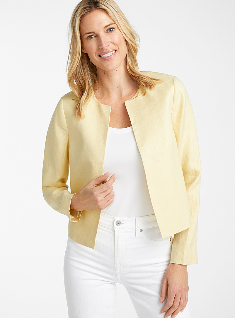 Contemporaine Light Yellow Urban linen round-neck jacket for women