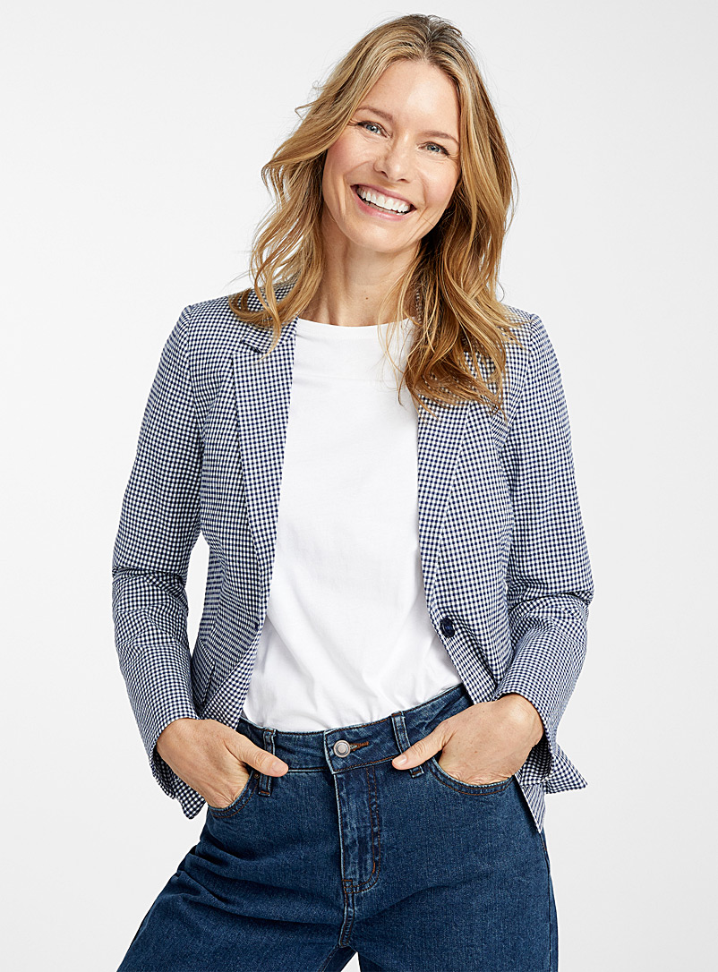 Contemporaine Patterned Blue Gingham seersucker jacket for women
