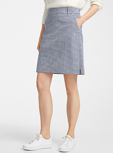 Contemporaine Patterned Blue Gingham seersucker skort for women