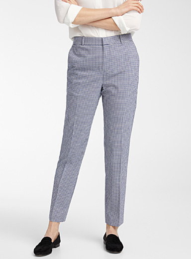 Contemporaine Patterned Blue Gingham seersucker pant for women
