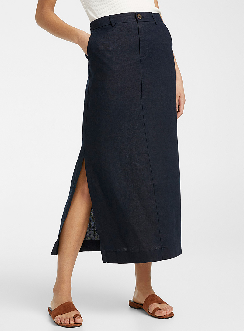 Contemporaine Marine Blue Pure linen maxi skirt for women