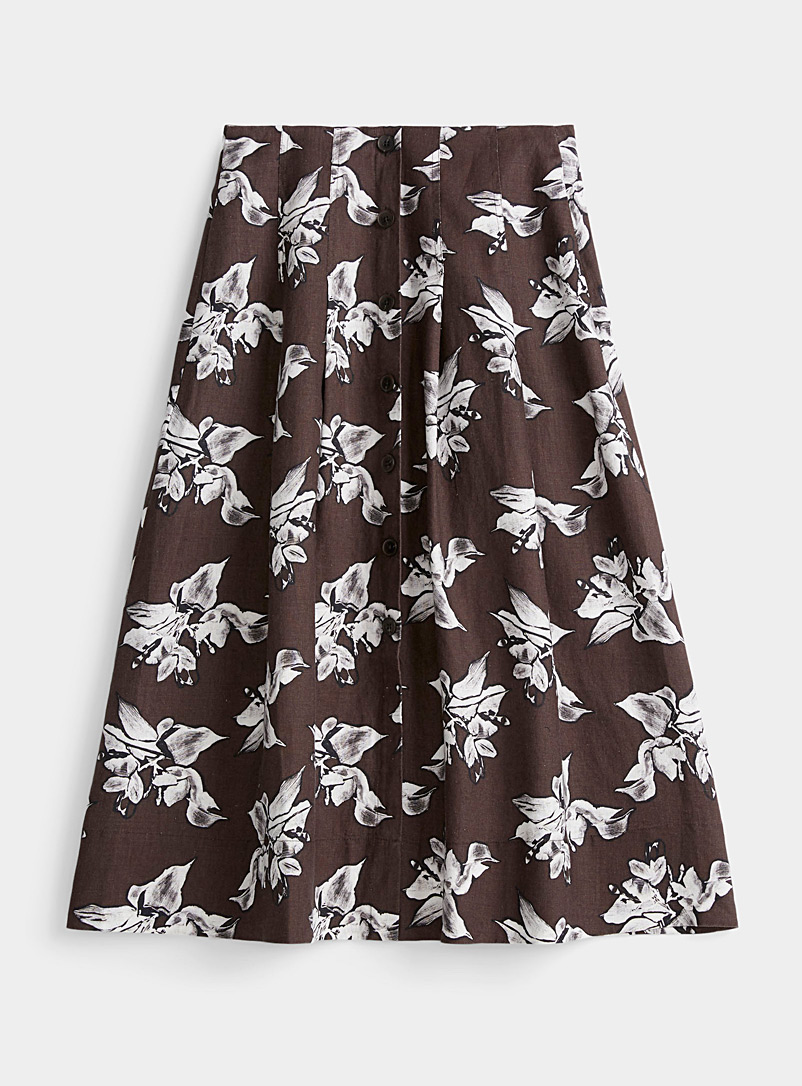 Contemporaine Patterned Brown Pure linen buttoned midi skirt for women