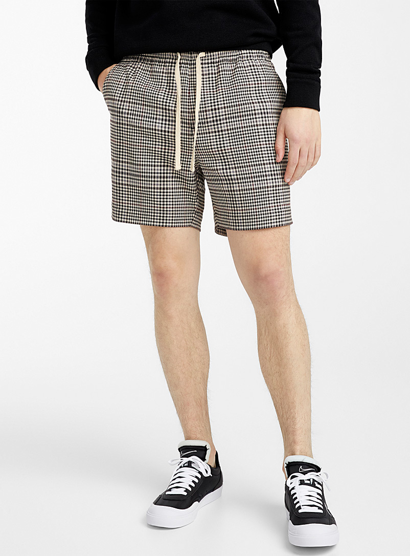 Djab Patterned Brown English check pull-on short for men