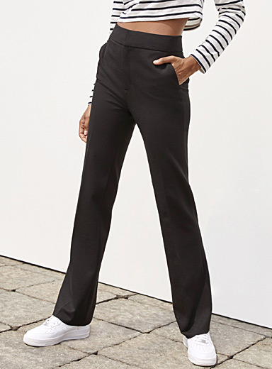 Icône Black Structured jersey flare pant for women