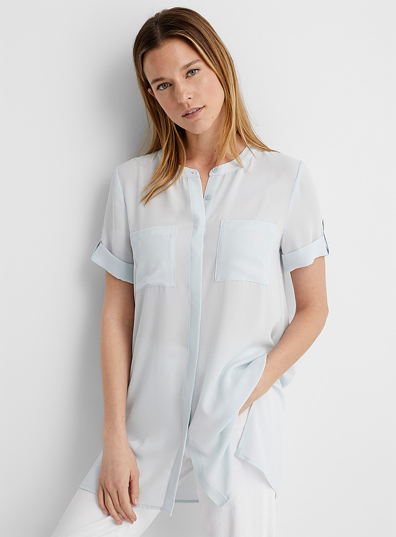 Contemporaine Baby Blue Recycled crepe cuffed-sleeve tunic for women