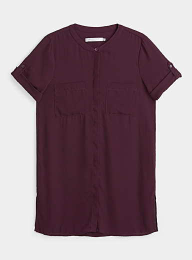 Contemporaine Crimson Recycled crepe cuffed-sleeve blouse for women