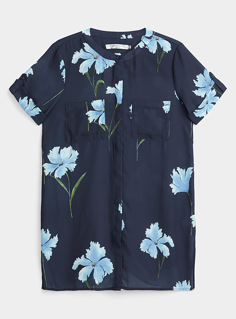 Contemporaine Navy Midnight garden recycled crepe tunic for women
