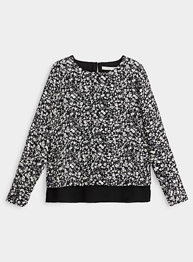Contemporaine Black and White Contrast flower recycled crepe blouse for women