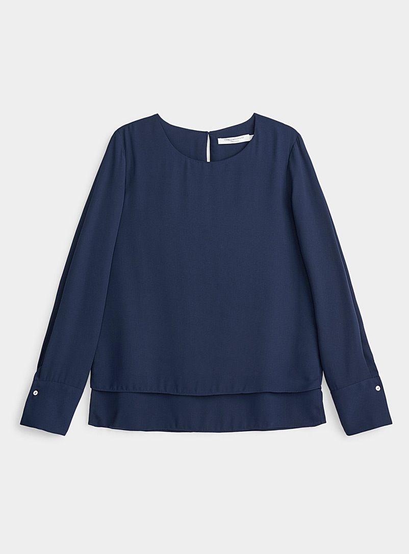Contemporaine Marine Blue Recycled crepe two-tier blouse for women