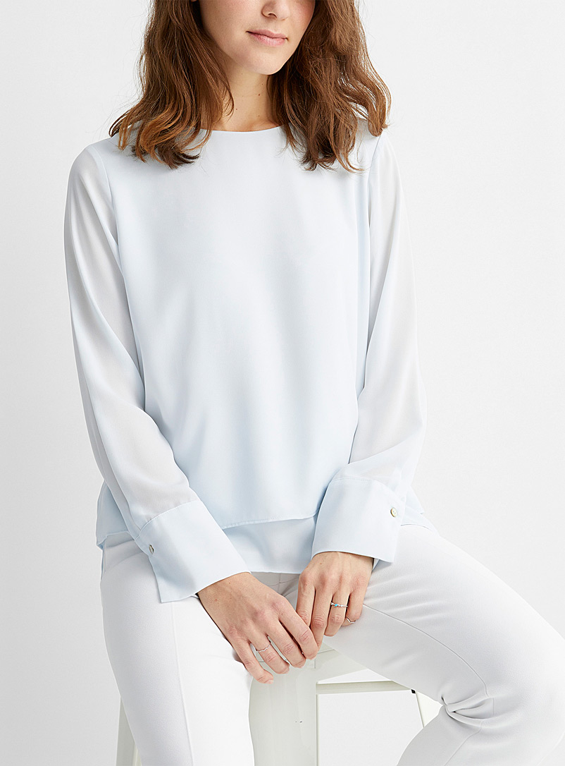 Contemporaine Baby Blue Recycled crepe two-tier blouse for women
