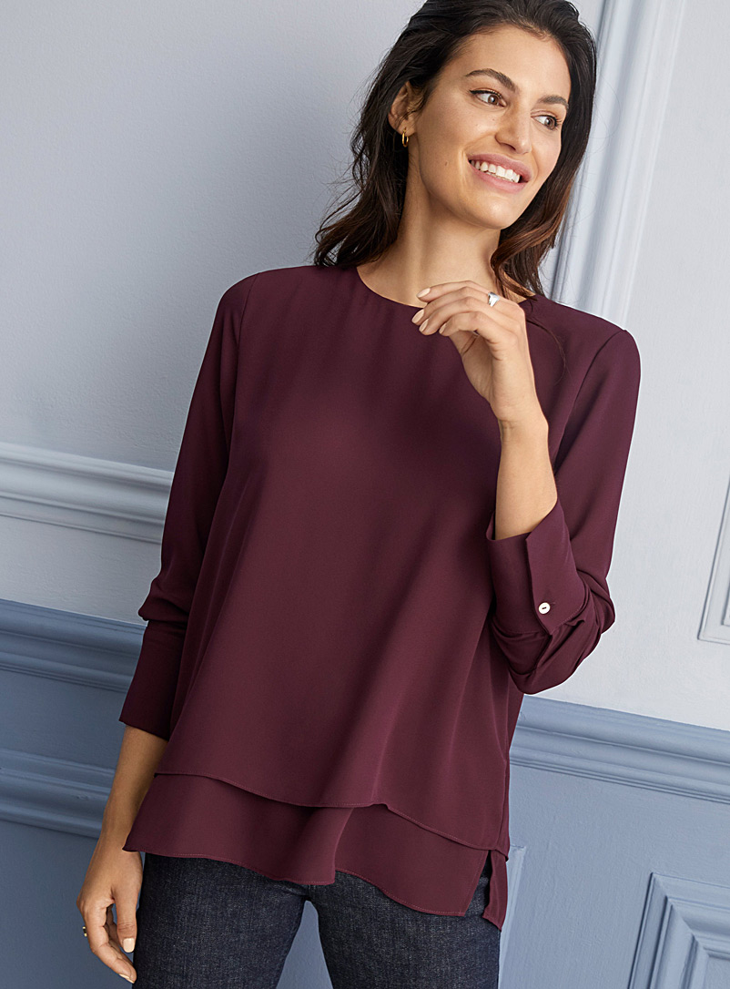 Recycled crepe two-tier blouse