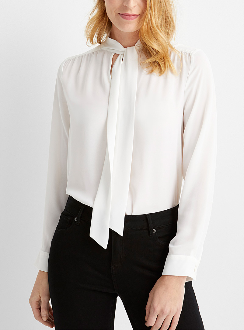 Contemporaine White Recycled crepe tie-neck blouse for women