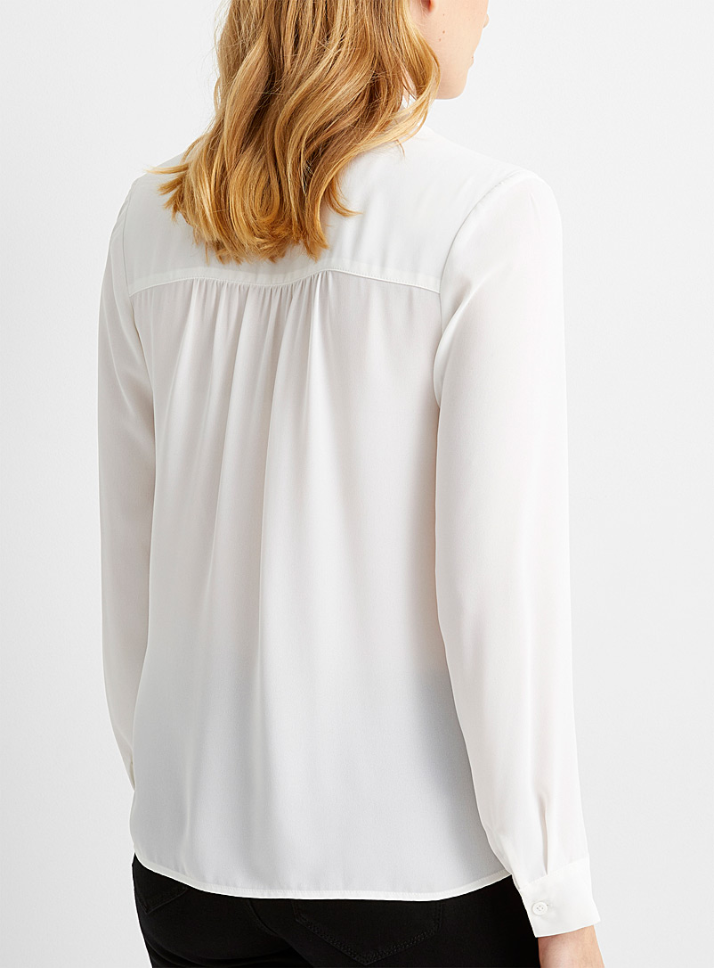 Contemporaine Black Recycled crepe tie-neck blouse for women