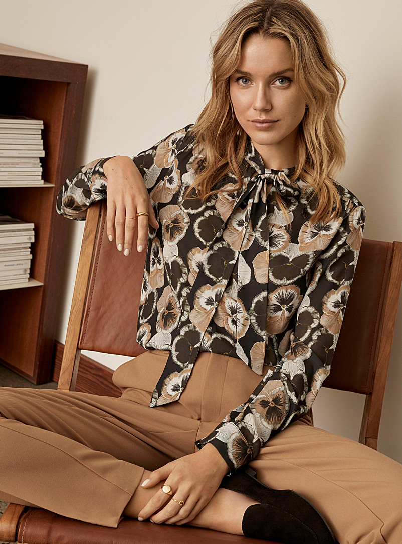 Contemporaine Light Brown Floral recycled crepe tie-neck blouse for women