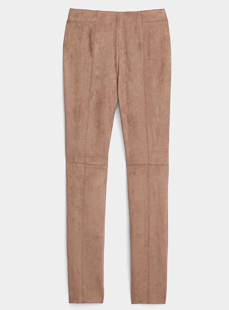 Ic?ne Light Brown Brushed faux suede legging for women