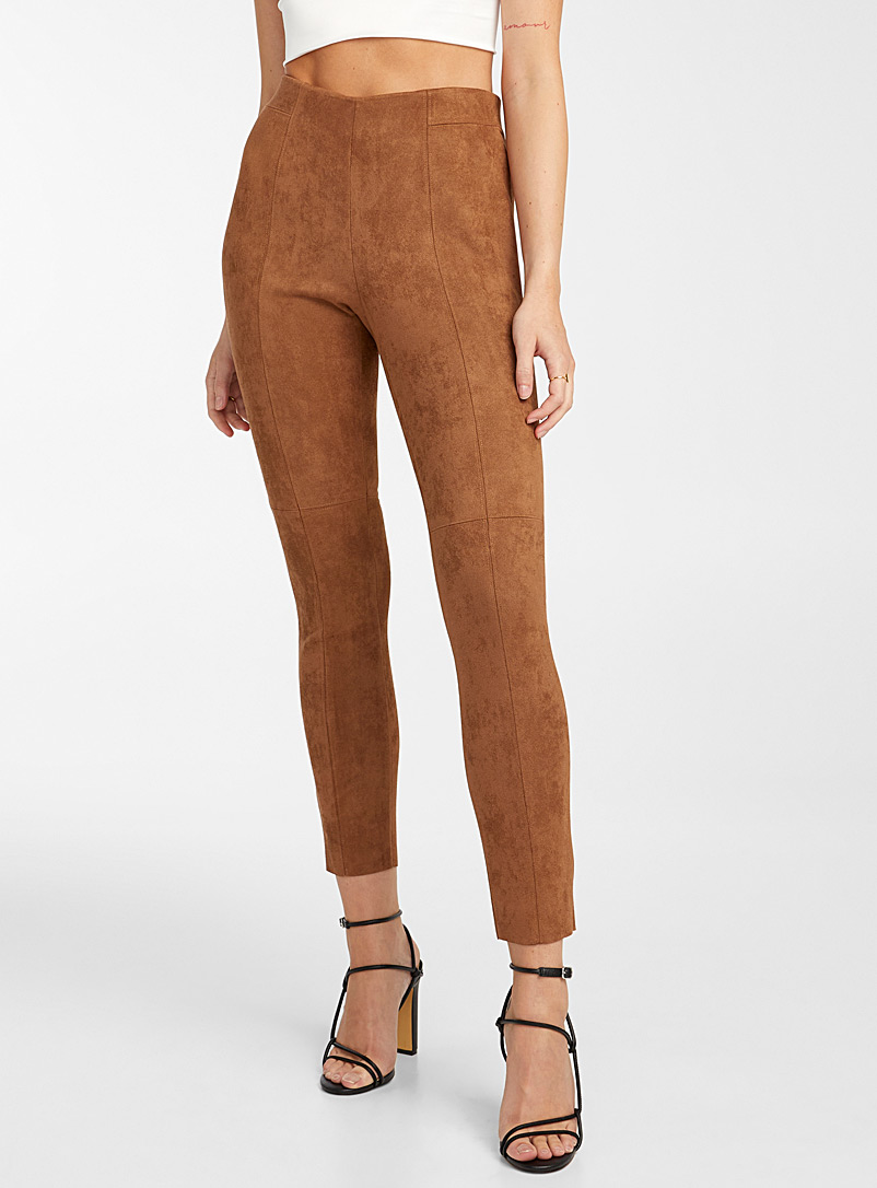 Icône Brown  Brushed faux suede legging for women