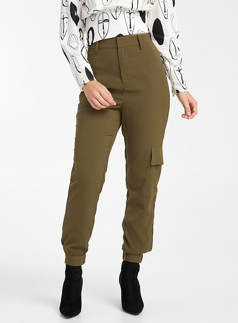 Icône Black Chic recycled polyester cargo joggers for women