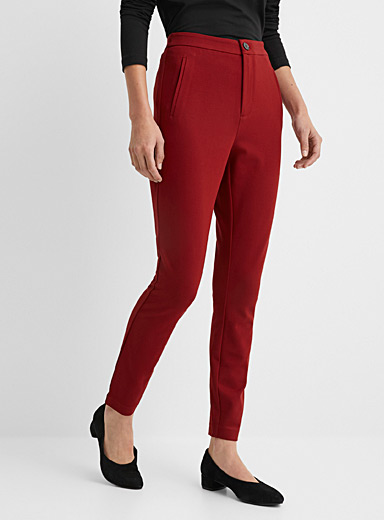 Contemporaine Ruby Red Engineered jersey slim pant for women