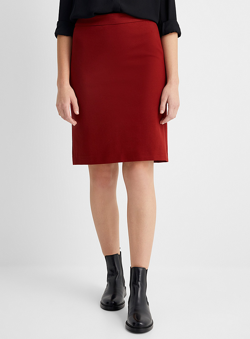 Contemporaine Ruby Red Engineered jersey straight skirt for women