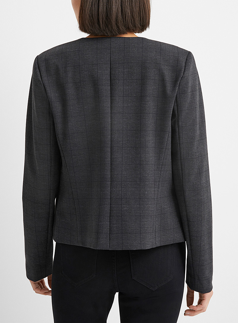 Contemporaine Patterned Grey Printed engineered jersey blazer for women