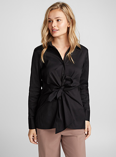 Knotted-waist blouse