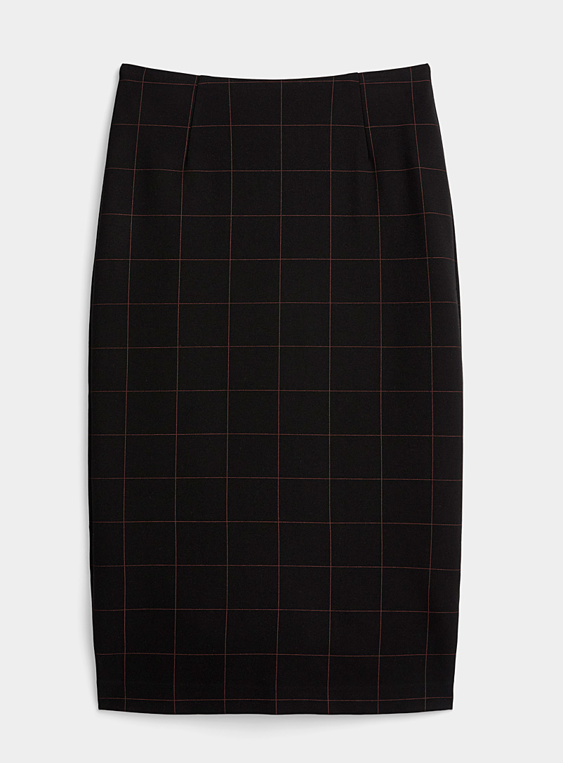 Icône Patterned Black Stretch eco-friendly viscose pencil skirt for women