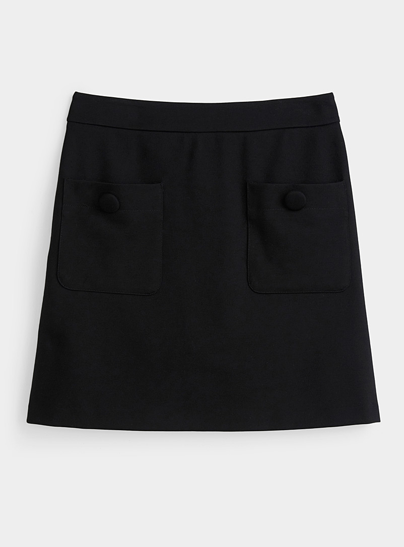 Icône Black Eco-friendly jersey patch pocket miniskirt for women